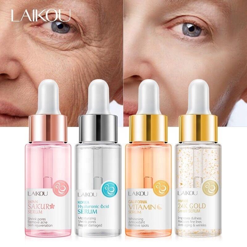 Anti Aging Remove Acne Spots Repair Damaged Korea Hyaluronic Acid Japan Sakur Vitamin C 24K Gold Face Serum 15ml